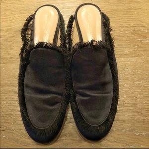 Gianvito Rossi Shoes - Gianvito Rossi Black Satin Fringe Mules Slides 41